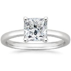 Certified Solitaire Engagement Rings - 14K White Gold Solitaire Diamond Engagement Ring Cushion Cut