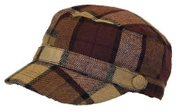 Angela & Williams - Newsboy Tattersall Plaid W/ Buttons Hat
