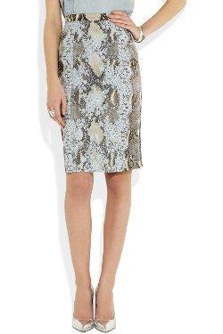 Erdem - Ari Python Print Lace Pencil Skirt