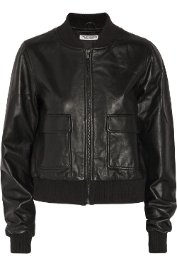 Current/Elliott - Shrunken Cropped Leather Bomber Jacket