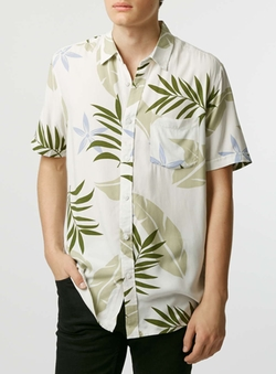 Topman - Plant Print Short Sleeve Casual Shirt