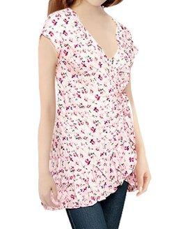 Allegra K  - Flower Print Self Tie Waist Tunic Shirt