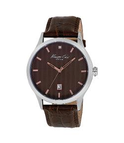 Kenneth Cole New York  - Men´s Rock Out Brown Leather Strap Watch