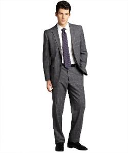 Joseph Abboud  - Grey Windowpane Check Wool Two-button Suit