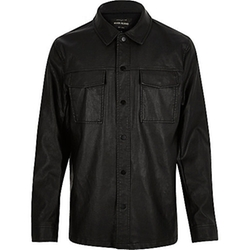 River Island - Leather-Look Shirt Jacket