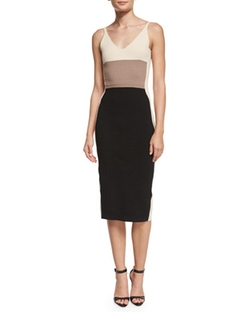 Narciso Rodriguez  - Sleeveless Colorblock Sheath Dress