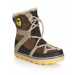 Sorel  - Glacy Explorer Faux Fur-Trimmed Suede & Canvas Boots