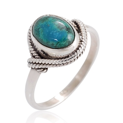 Chuvora - Sterling Silver Chrysocolla Gemstone Ring