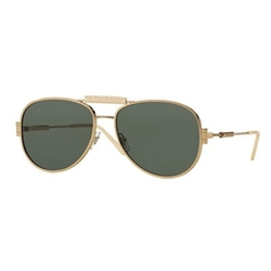 Versace - Leather-Trim Monochromatic Aviator Sunglasses