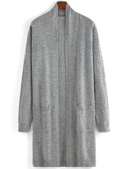Romwe - Open Front Pockets Grey Cardigan