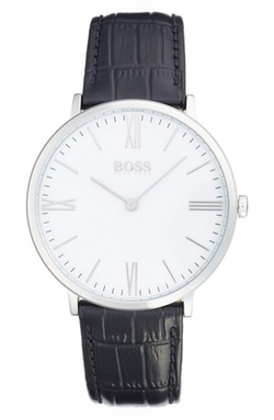 Boss -  Ultra Slim Leather Strap Watch