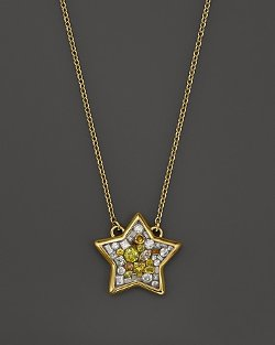 Plevé  - Sun Burst Mosaic Star Pendant Necklace with Diamonds