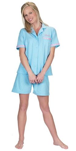 Pajama Gram - Blue Polka Dot Brushed Cotton Jersey Short Set Pajama