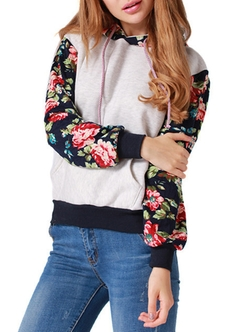 Romwe - Hooded Drawstring Florals White Sweatshirt