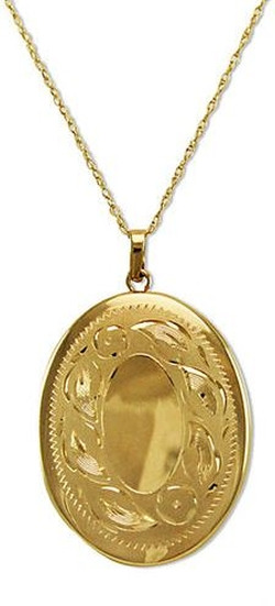 Lord & Taylor - Gold Engraved Oval Locket Necklace