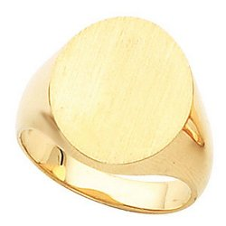 IceCarats - Solid Oval Mens Signet Ring