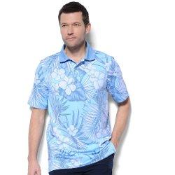 Monterey Club - Hawaiian Print Texture Polo Shirt