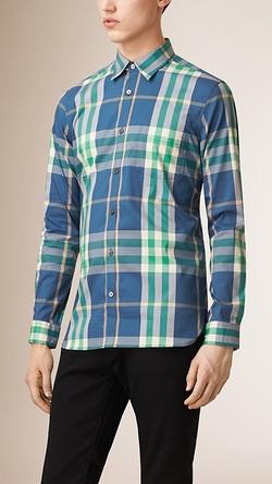 Burberry - Check Stretch Cotton-Blend Shirt