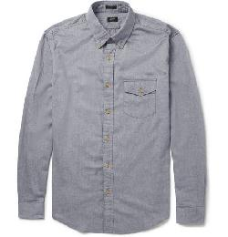 J.CREW   - BRUSHED-COTTON BUTTON-DOWN COLLAR SHIRT