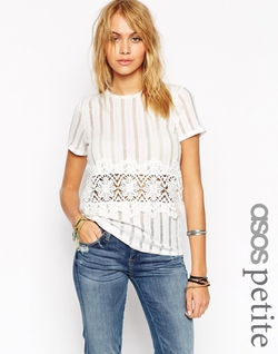 Asos Petite - Laddered Rib with Cotton Lace Trim Top