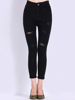 Romwe - High Waist Ripped Slim Denim Pant