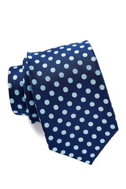 Isaac Mizrahi - Navy & Teal Spotted Silk Tie