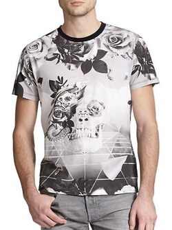 Diesel - Skull & Rose Geometric-Print Cotton Tee
