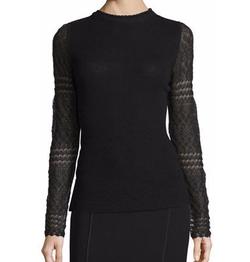 Elie Tahari - Theresa Long Crochet-Sleeve Merino Sweater