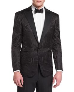 Ralph Lauren  - Tonal Art Deco Printed Tuxedo Jacket