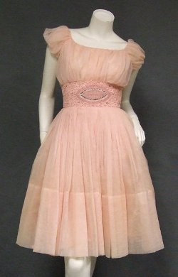 Vintageous - Gathered Pink Chiffon 1960