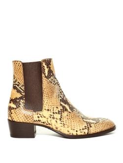 Saint Laurent  - Wyatt Python-Effect Chelsea Boots