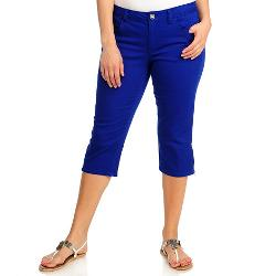 OSO - Casuals Stretch Twill Zip Hem Embroidered Pocket Capri Pants