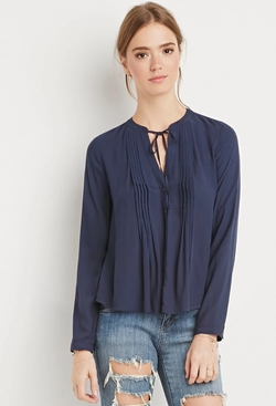 Forever21 - Pintucked Button-Down Blouse