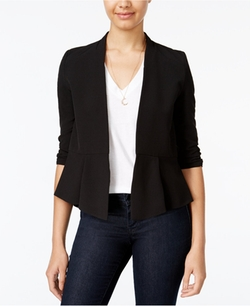 BCX  - Ruched-Sleeve Open-Front Blazer