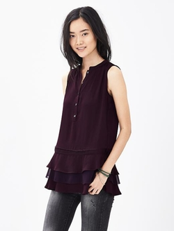 Banana Republic - Tiered Ruffle Sleeveless Blouse
