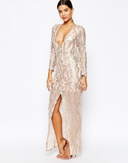 Club L - Sequin Maxi Dress With Plunge Back And Long Sleeves