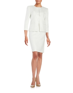 Tahari Arthur S. Levine - Two-Piece Bow-Accented Textured Suit Set
