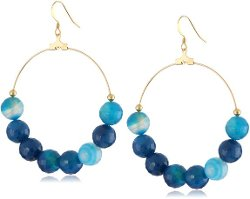 Kenneth Jay Lane - Bead Fishhook Hoop Earrings