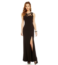 Sequin Hearts - Illusion Sequin Yoke Gown