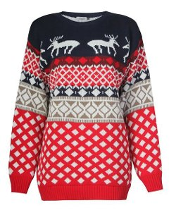 Fashionmark  - Womens Aztec Diamond Reindeer Knitted Sweater