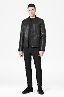 FRENCH CONNECTION - LEATHER HIGH NECK BIKER JACKET