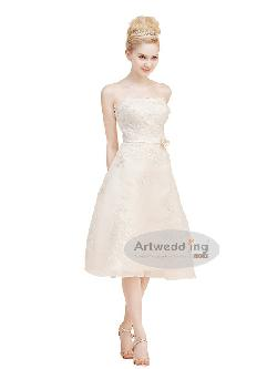 Artwedding - Strapless Floral Patched Organza Wedding Dress with Sash