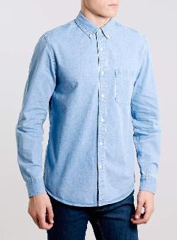 Topman - Blue Beach Denim Button Down Collar Shirt