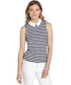 Casual Couture By Green Envelope  - Stretch Striped Collared Sleeveless Top