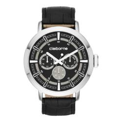 Claiborne - Mens Black Leather Strap Multifunction Watch