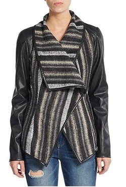 Saks Fifth Avenue BLACK - Faux Leather Paneled-Knit Jacket