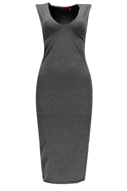 Boohoo Basics - Mia Plunge Neck Bodycon Midi Dress
