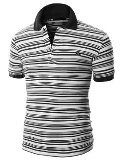 Doublju  - Mens Stripe Polo T-shirts with Contrast Collar