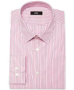 Hugo Boss  - Fitted Pink Stripe Dress Shirt