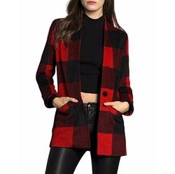Allegra K - Plaid Wool Worsted Coat